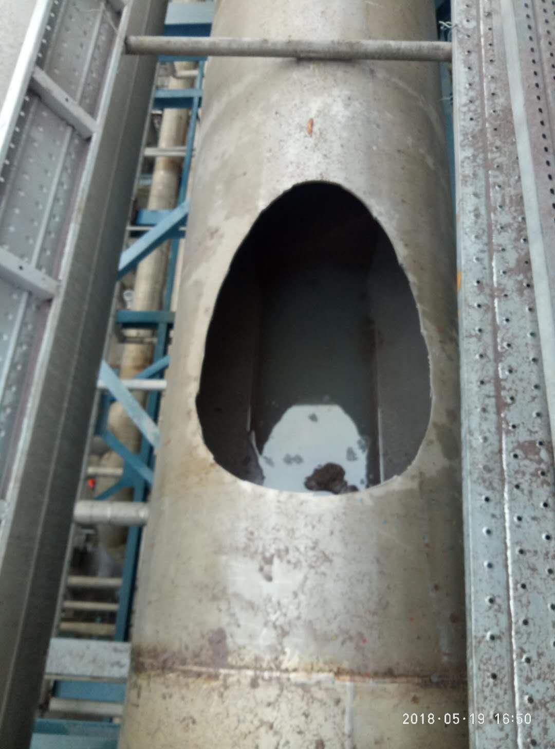 煤气管线技改斜交相贯线切割案例